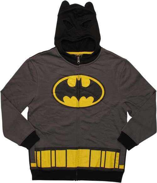 Batman Classic Logo Costume Zipper Youth Hoodie