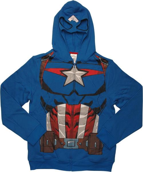 Captain America Avengers Costume Zipper Hoodie