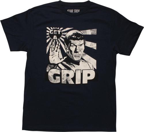 Star Trek Spock Get A Grip Navy Blue T-Shirt