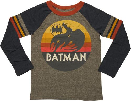 Batman Sunset Bat Logo Ringer LS Juvenile T-Shirt