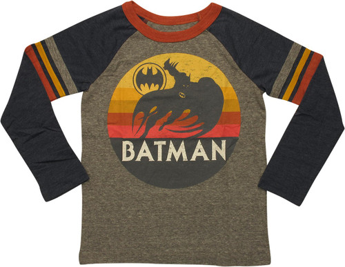 Batman Sunset Bat Logo Ringer LS Juvenile T-Shirt