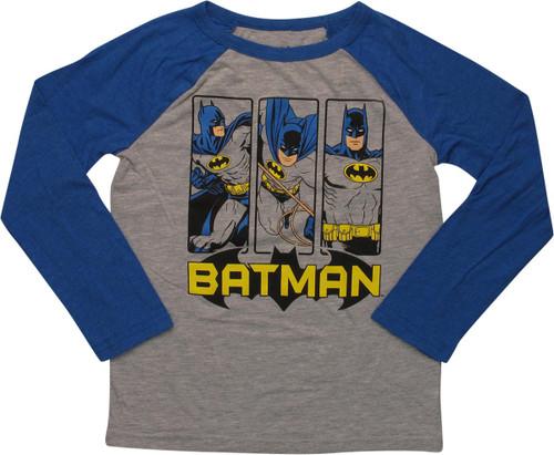 Batman Vertical Panels Ringer LS Juvenile T-Shirt