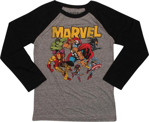 Avengers Heroes Marvel Ringer LS Juvenile T-Shirt