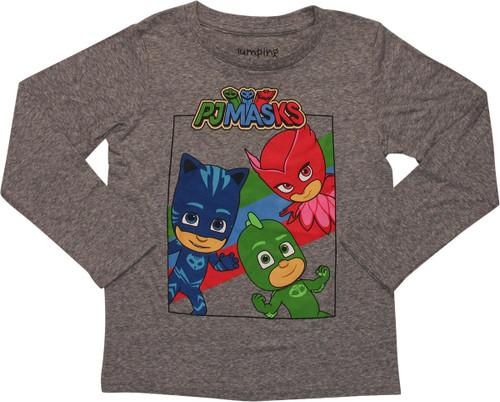PJ Masks Heroes Square Gray LS Juvenile T-Shirt