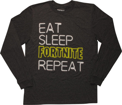 Fortnite Eat Sleep Fortnite Repeat Gray LS T-Shirt