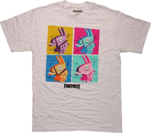 Fortnite Cartoon Supply Llama Squares White T-Shirt