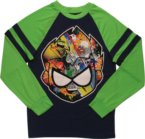 Teen Titans Go Robin's Face Toons LS Youth T-Shirt