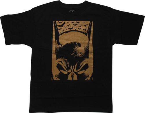 Batman Golden Cowl Bats Black Youth T-Shirt