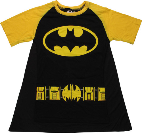 Batgirl Logo Costume Caped Black Juniors T-Shirt