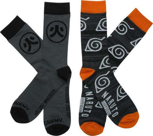 Naruto Shippuden Logos 2 Pack Crew Socks Set