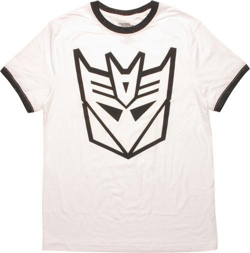 Transformers Decepticon Logo Ringer White T-Shirt