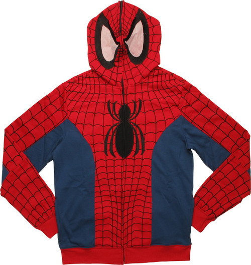 Spiderman Costume Masked Zip Up Hoodie