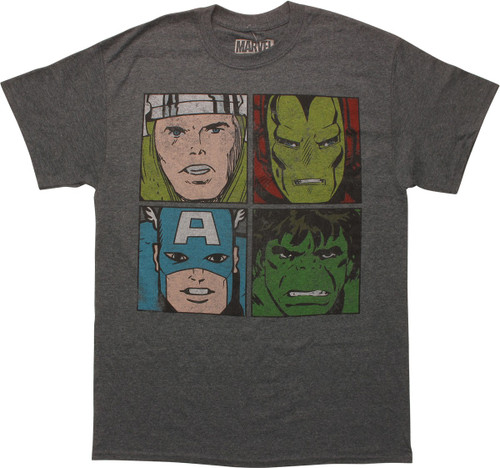 Avengers Hero Faces Squares Distressed T-Shirt