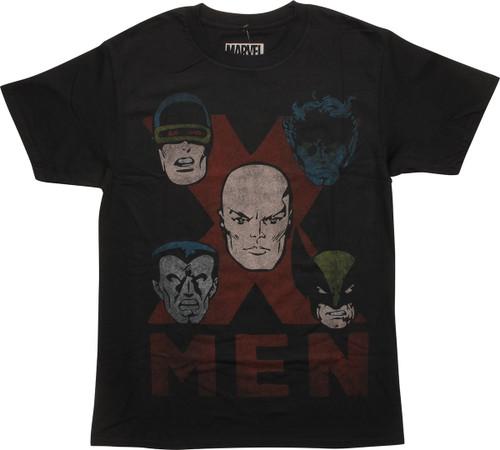 X Men Hero Faces on X T-Shirt