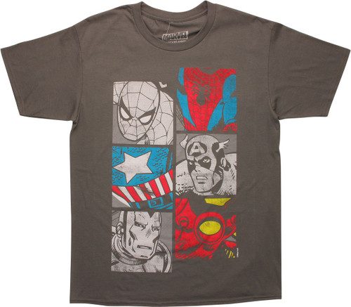 Avengers Hero Busts and Costume Logos T-Shirt