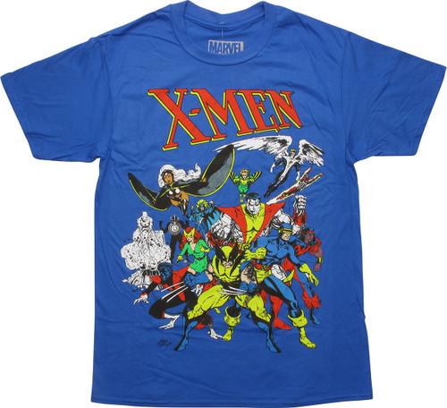 X Men Classic Group Blue T-Shirt
