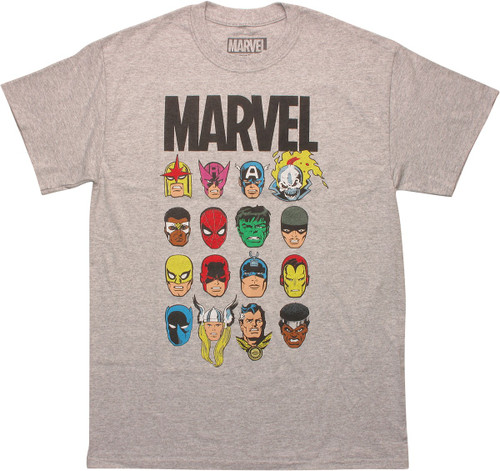 Marvel Comics 16 Hero Heads Heather T-Shirt