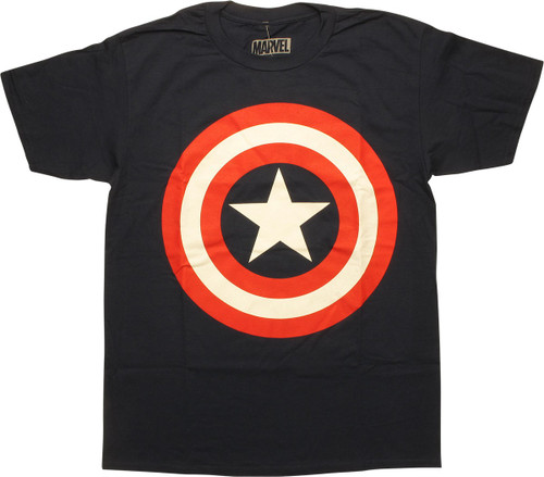 Captain America Shield Logo Navy Blue T-Shirt
