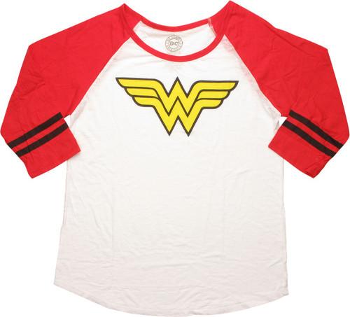 Wonder Woman Logo Sheer 3/4 Raglan Juniors T-Shirt