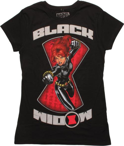 Black Widow Logo Attack Juniors T-Shirt