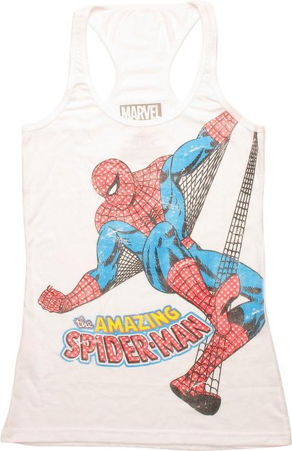 Amazing Spiderman Web Swing Juniors Tank Top