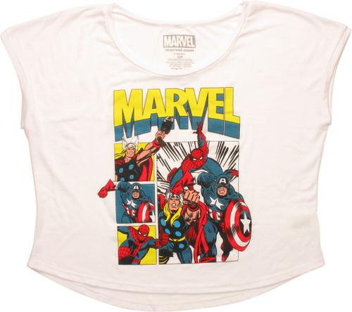 Avengers Hero Attack Squares Dolman Ladies T-Shirt