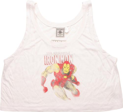 Invincible Iron Man Cropped Loose Juniors Tank Top
