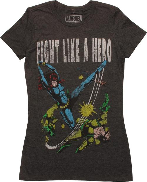 Black Widow Fight Like a Hero Juniors T-Shirt