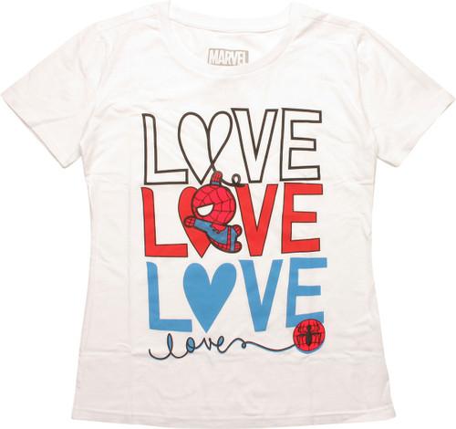 Spiderman Toy Swing Love Love Love Juniors T-Shirt