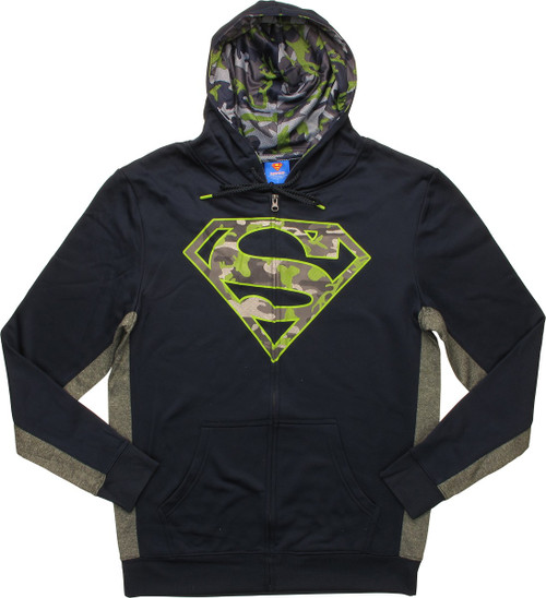 Superman Camouflage Logo Athletic Zip Hoodie