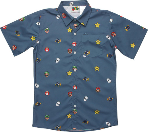Super Mario Icons Youth Button Shirt