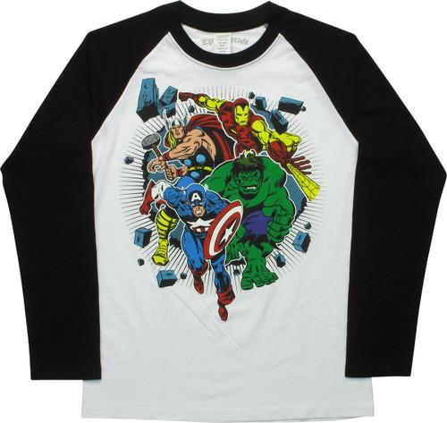 Avengers Heroes Wall Smash Raglan Youth T-Shirt