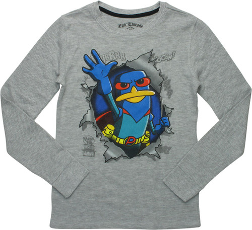 Phineas and Ferb Hero Perry Thermal LS Youth Shirt