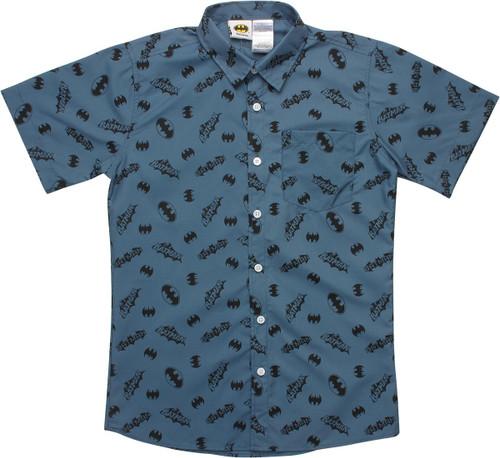 Batman Logo Icons Youth Button Shirt