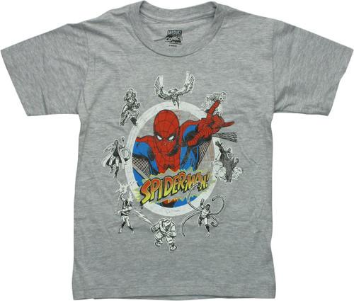 Spiderman Villains Circle Juvenile T-Shirt