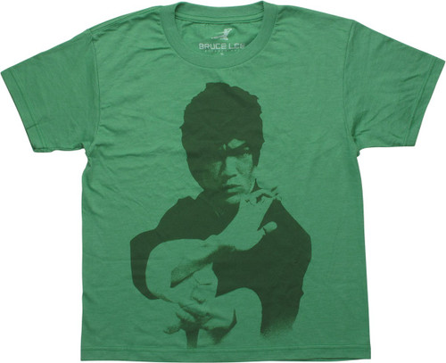 Bruce Lee Heathered Green Youth T-Shirt