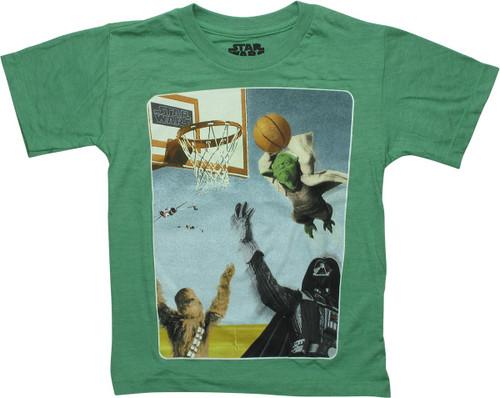 Star Wars Yoda Dunking Basketball Juvenile T-Shirt