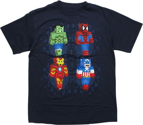 Avengers Minecraft Superheroes Navy Youth T-Shirt