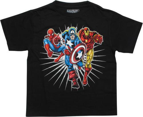 Avengers Hero Trio Black Youth T-Shirt