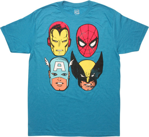 Avengers 4 Hero Faces Distressed T-Shirt