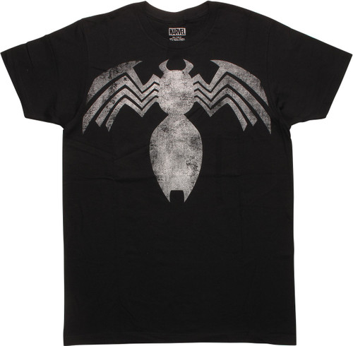 Venom Faded Distressed Logo Black T-Shirt