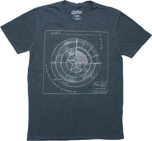 Avengers Captain America Shield Blueprint T-Shirt