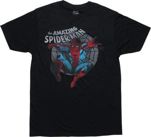 Amazing Spiderman Leap Swing Distressed T-Shirt