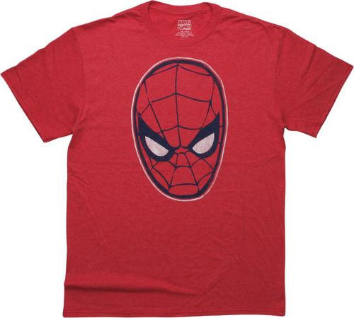 Spiderman Distressed Mask Heathered Red T-Shirt