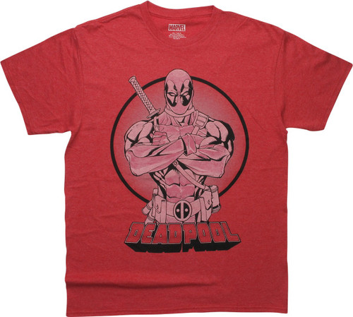 Deadpool Arms Crossed Heathered Red T-Shirt