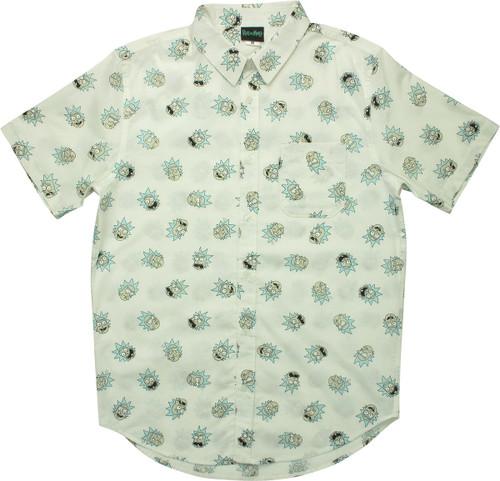 Rick and Morty Rick Heads Jumble Button Shirt