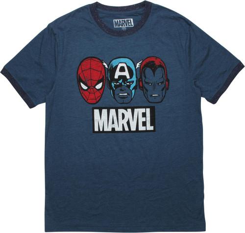 Avengers Hero Heads Marvel Name Ringer T-Shirt