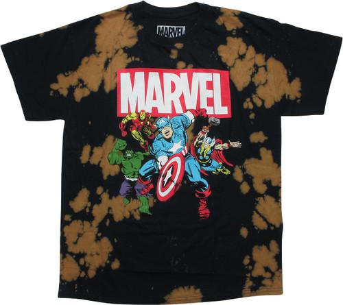 Avengers Hero Group Acid Wash T-Shirt