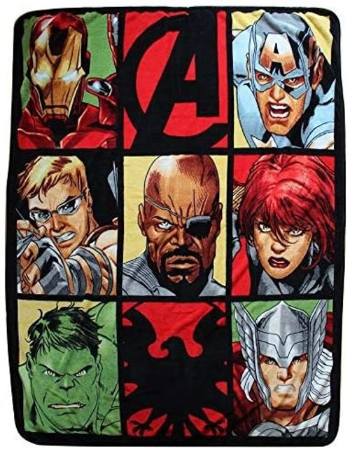 Avengers Shield Hero Grid Throw Blanket