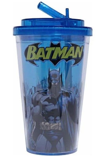 Batman Stance Blue Flip Straw Travel Cup